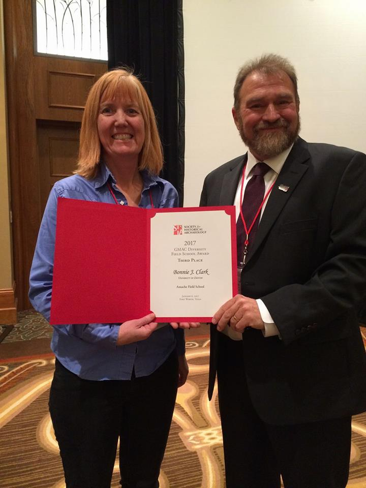 Dr. Bonnie Clark receives award for promoting diversity in Historical Archaeology. Photo by Carrie Schrader.