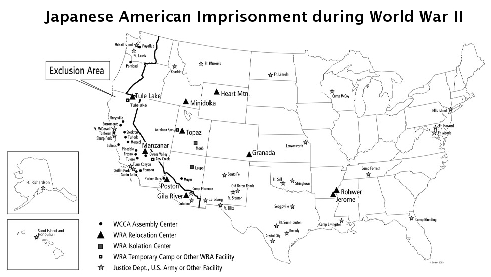 Map of Japanese American Imprisonment during World War II. Photo courtesy National Park Service.