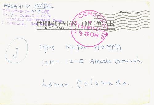 Letter sent from Masahiko Wada at Lordsburg Internment Camp to Mrs. Mutsu Homma at Amache